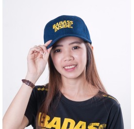 Baseball Cap - Dark Blue Yellow Word - Badass Inside