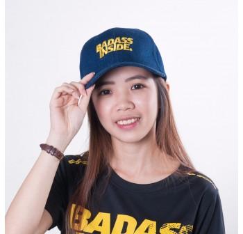 Baseball Cap - Dark Blue Yellow Word - Badass Inside