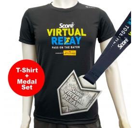 [PROMO SET] Score T-shirt Wit Medal - Black - Virtual Relay - Virtual Run Edition Event