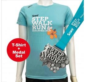 [PROMO SET] Score T-shirt Wit Medal - Turquoise Green - Step Walk Run - Virtual Run Edition Event